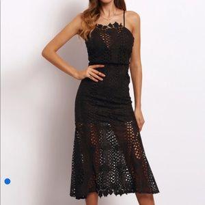 Dresses & Skirts - Black Spaghetti Strap Hollow Lace Dress